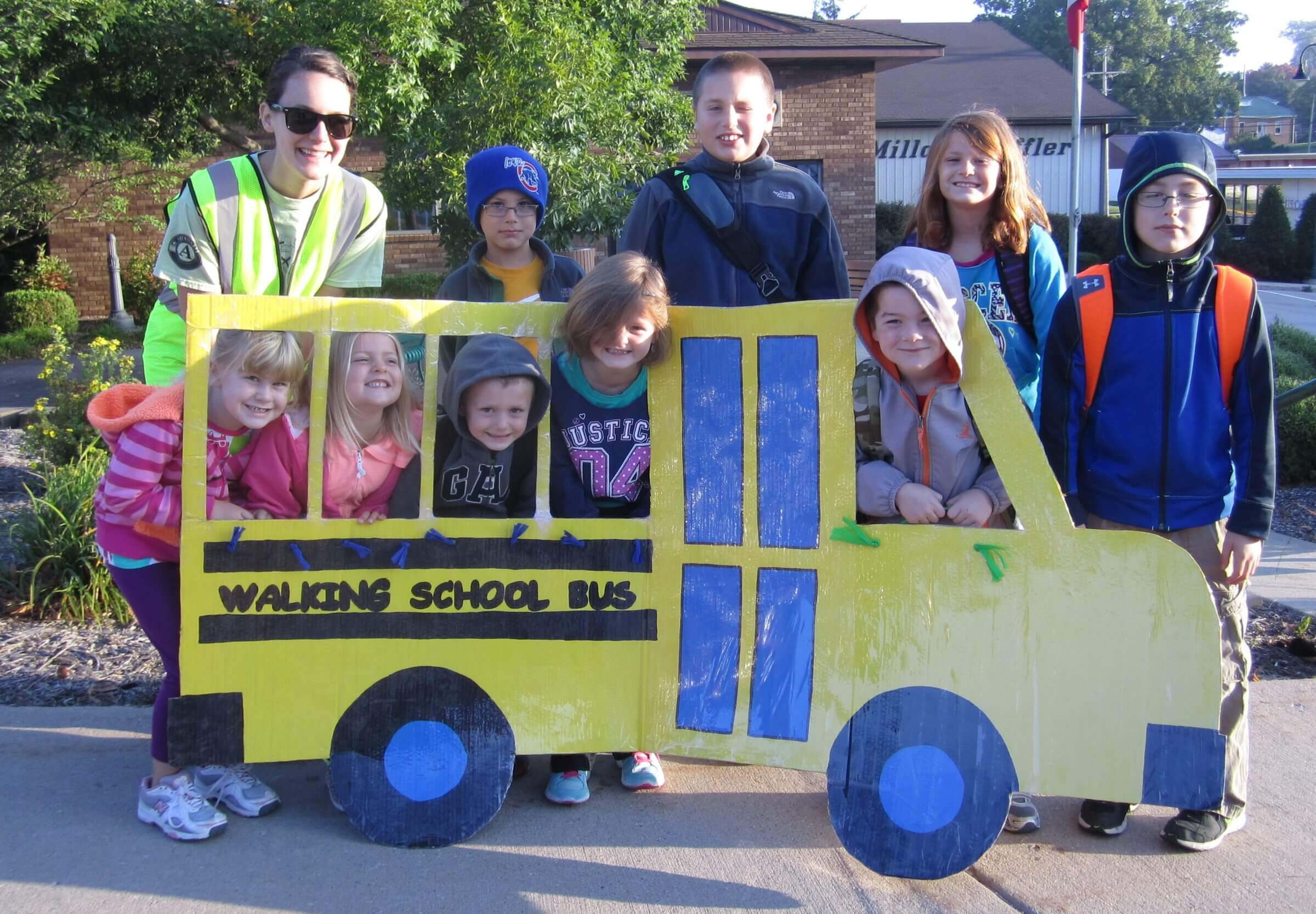 A Waukon Walking School Bus gets ready for take-off this fall. Iowa Cancer Consortium funds will support Walking School Buses this coming spring.