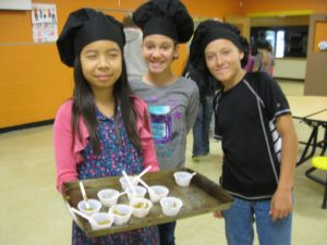 North Winn cafeteria coaches conducted taste-tests and sampling of their African-style sweet potato stew